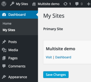 Once enabled WordPress Multisite with subdomains our dashboards shows the My Sites section