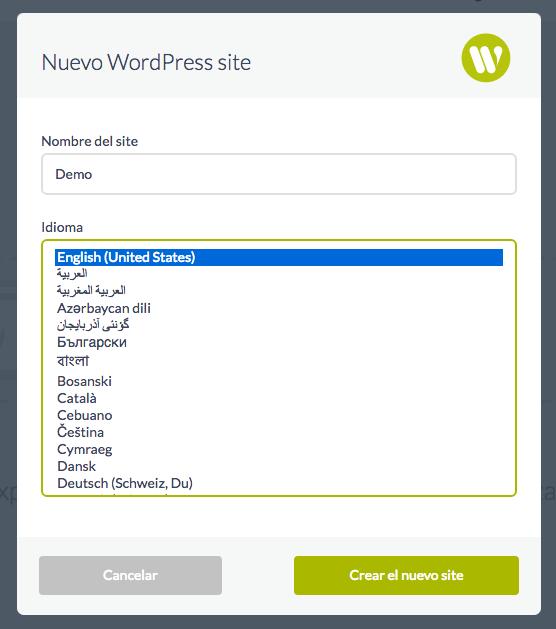formulario con opciones para poder disponer de un site WordPress