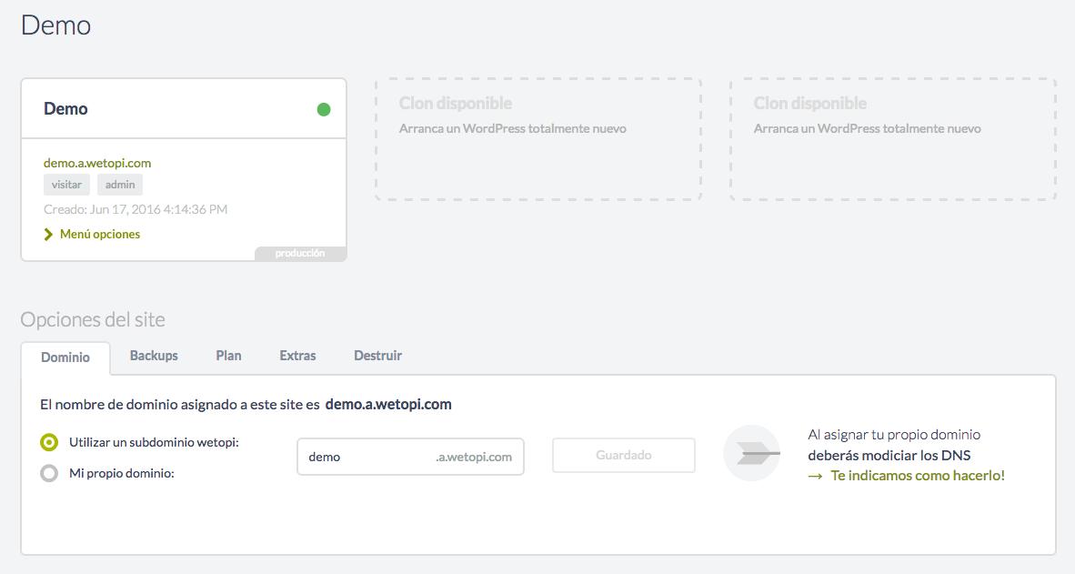 En crear un site WordPress disposarem de tres clons o maquines contenidor.
