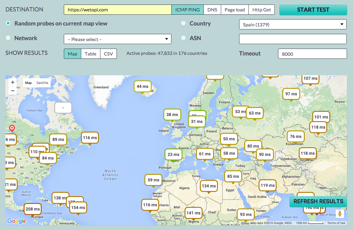 Una resposta d'un WordPress ràpid amb una latencia de xarxa amb origen França