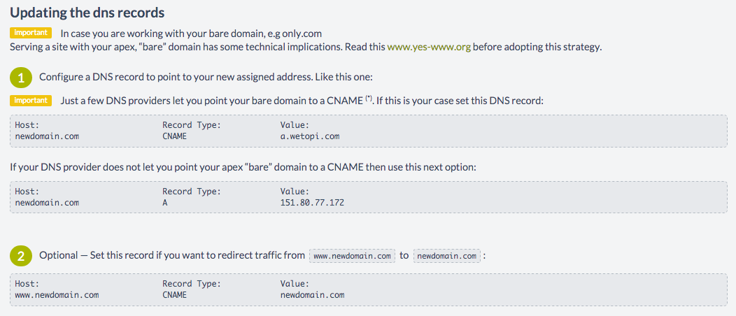 Sample Page showing How to update the DNS in order to change the Domain Name of my WordPress site