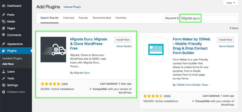 instalar plugin Migrate Guru