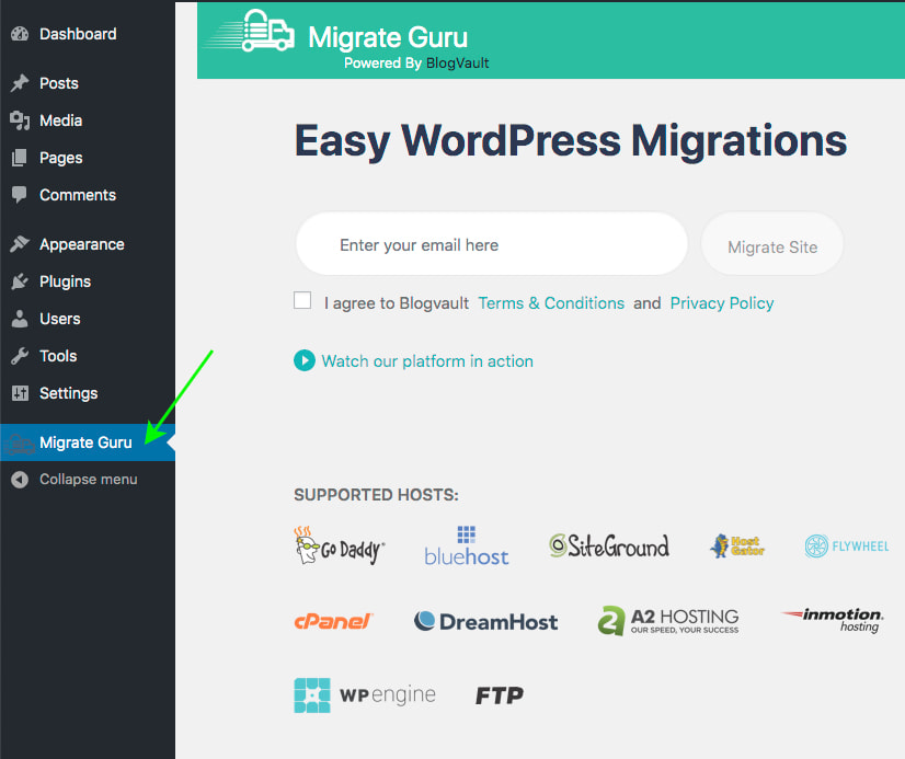 Main form to Migrate to Wetopi with Migrate Guru plugin