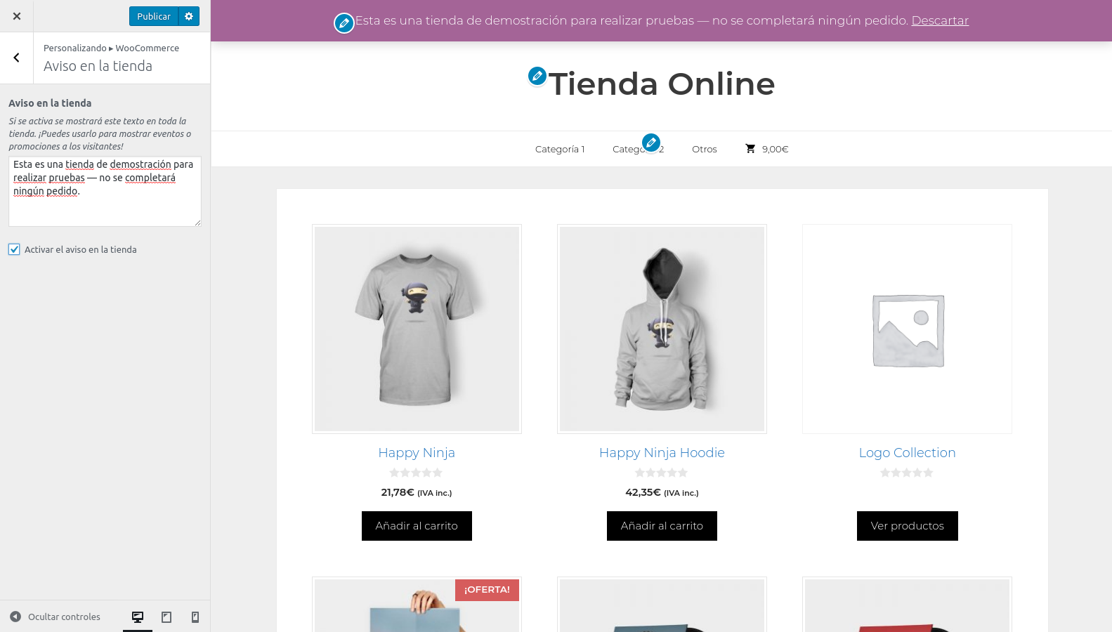 Woocommerce con GeneratePress: personalización aviso en la tienda