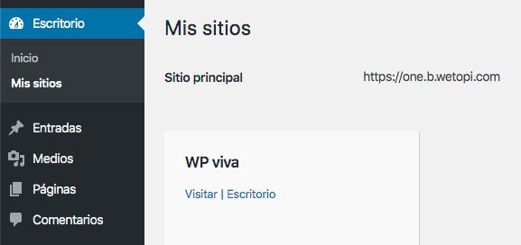 Apartado mis sitios de WordPress Multisite con subdirectorios
