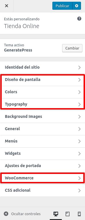 Woocommerce con GeneratePress: opciones del personalizador