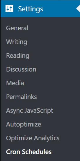 La edición de periodos cron para WordPress está en el Menú Ajustes