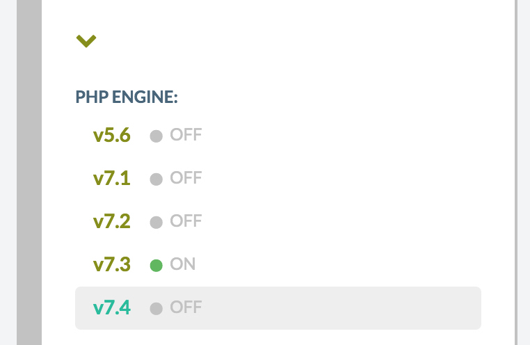 "advance menu ""PHP ENGINE"" options of your WordPress server."
