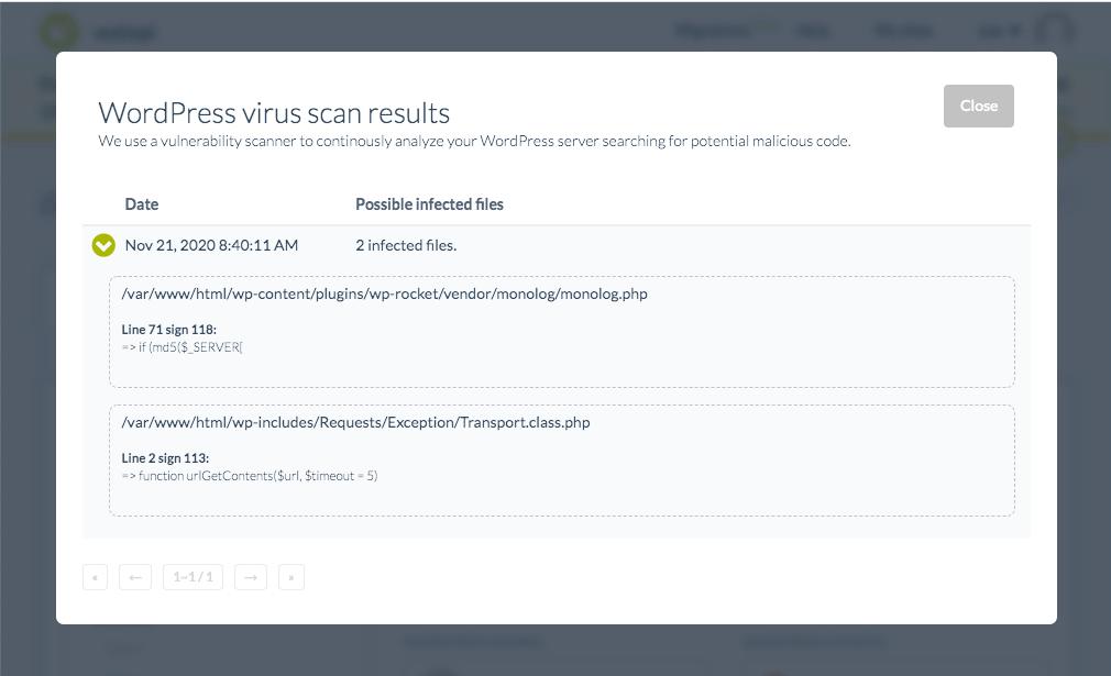 Registro de análisis de malware de WordPress